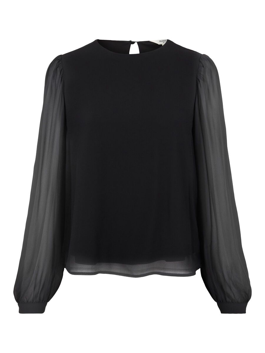 BALLOON SLEEVED PUFF BLOUSE, Black, highres