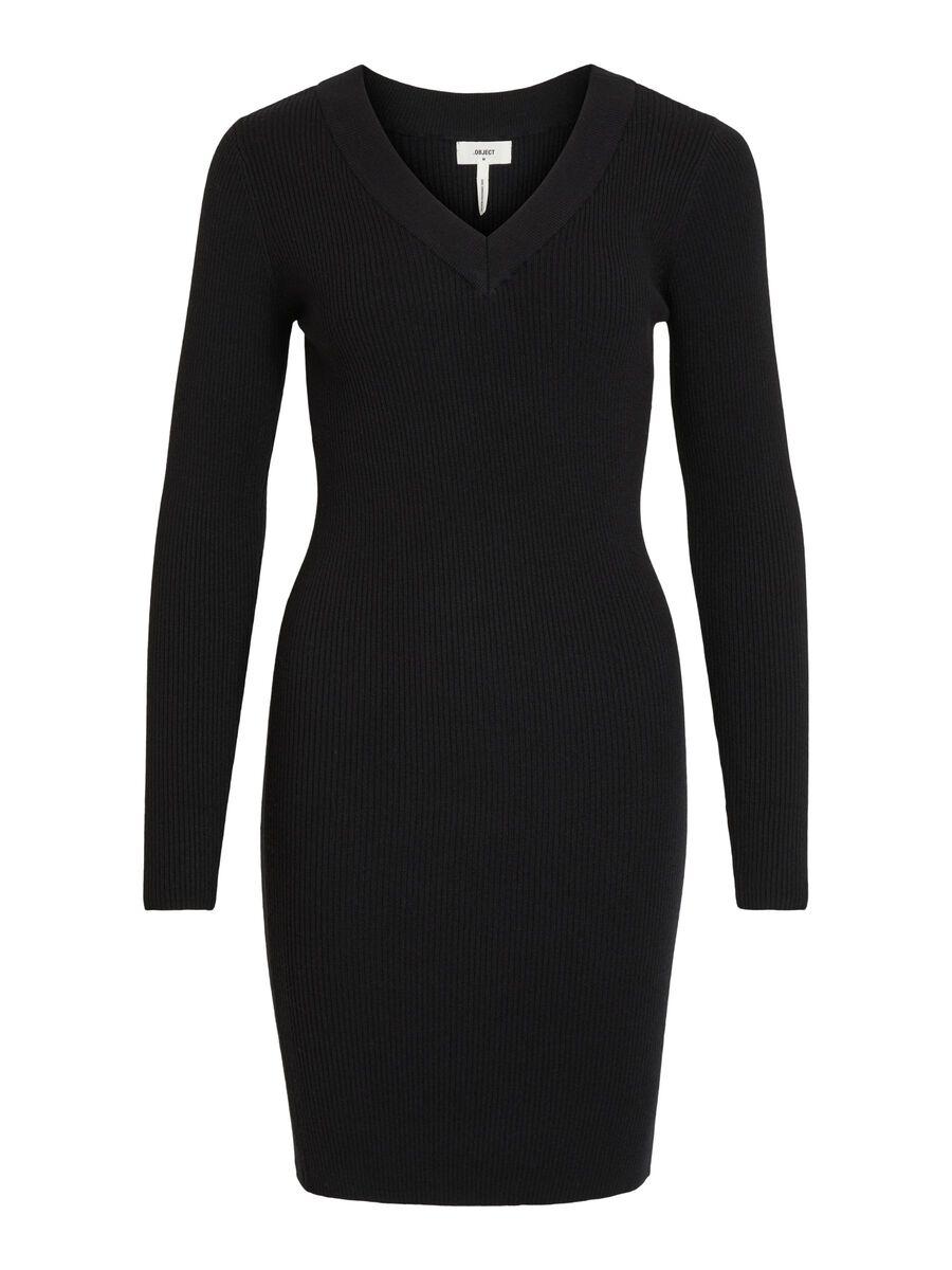 V-NECK KNITTED DRESS, Black, highres