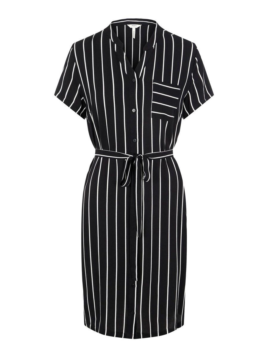 TIE WAIST KNEE-LENGTH DRESS, Black, highres