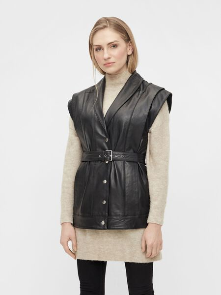 BELTED LEATHER GILET
