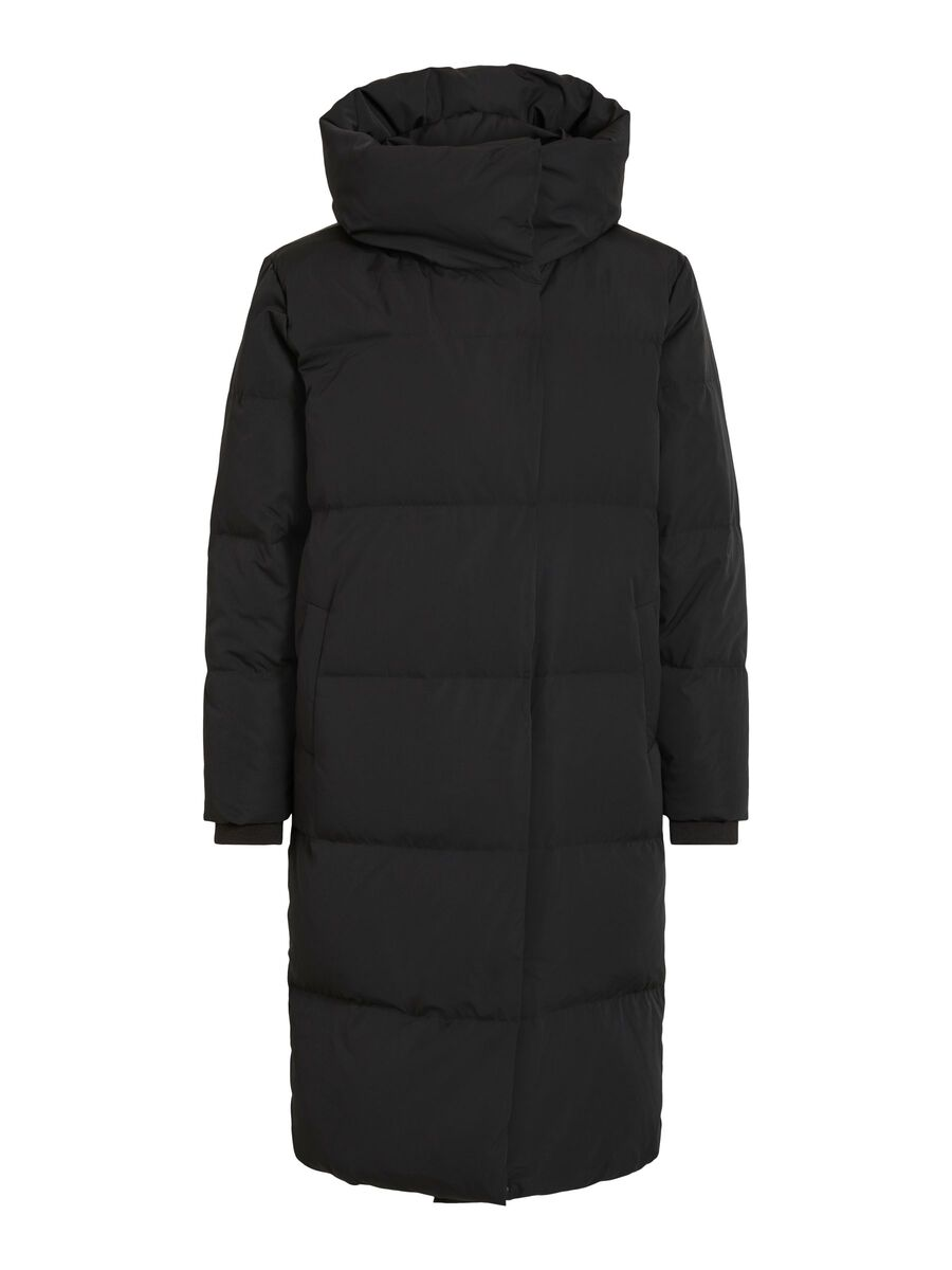 QUILTED DOWN COAT, Black, highres
