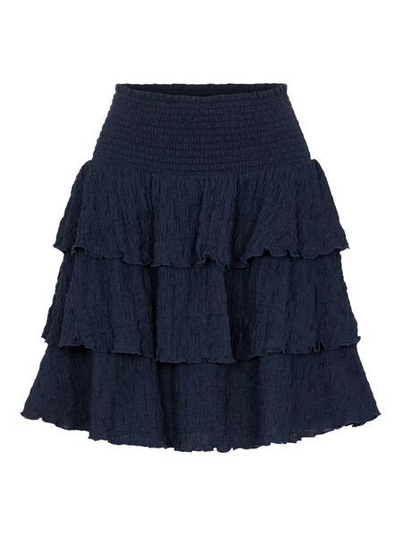FLOUNCE DETAIL HIGH WAISTED SKIRT