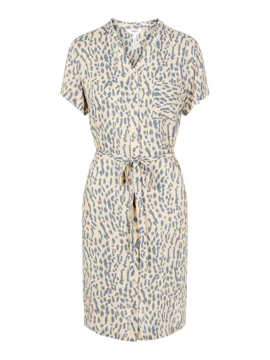 TIE WAIST KNEE-LENGTH DRESS, Sandshell, highres