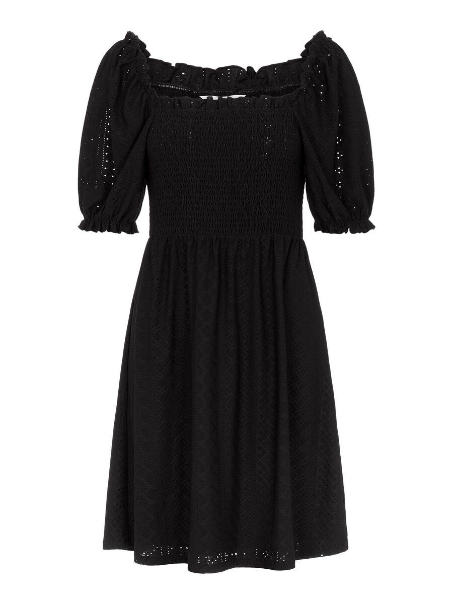 EMBROIDERED MINI DRESS, Black, highres