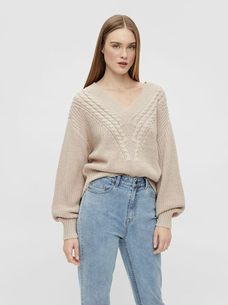 Object Collectors Item V-NECK KNITTED PULLOVER, Silver Gray, highres - 23036018_SilverGray_003.jpg