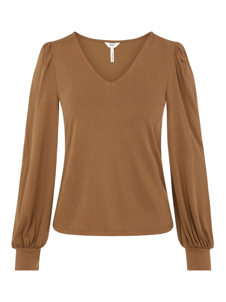 Object Collectors Item V-NECK LONG SLEEVED TOP, Sepia, highres - 23035748_Sepia_001.jpg
